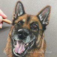 pastel painting of German Shepherd