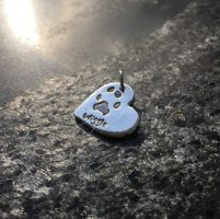 Silver paw print necklace charm